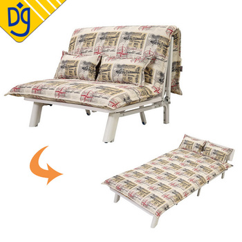 Collapsible Metal Frame Denim Fabric Futon Sliding Sofa Bed With Trundle