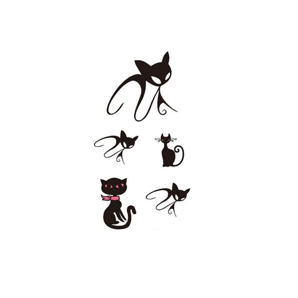 c6ddbd39e Get Quotations · 6 Sheets Cool 3D Cute Black Cat Stencils Designs Waterproof  Body Arm Art Temporary Tattoo Sticker