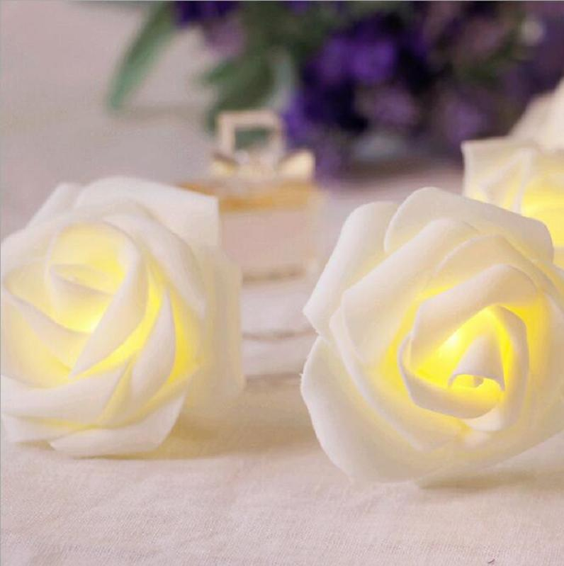 10ft 30 LED Christmas Lights Battery Operated Rose Flower/String Lights with warm white rose for Home Decor