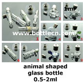 animal special shaped glass bottle for jewelry accessories+antique bronze cap