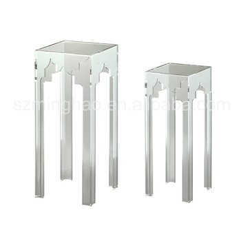 Acrylic Nesting Table Tall Pedestal Table Lucite Plant Telephone Stand  Pillar With Carve Pattern Design