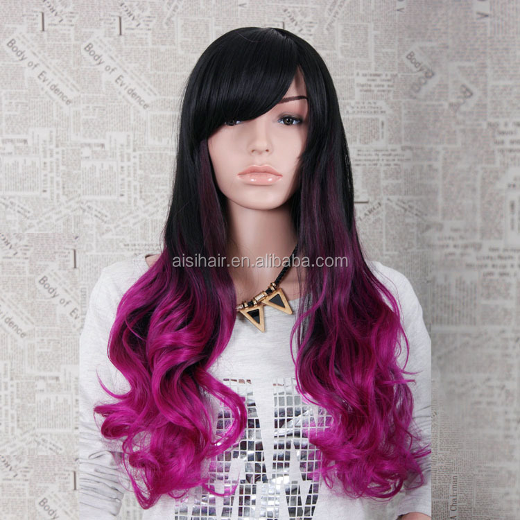 Wholesale two tone color hair wigs Long curly weave ombre red synthetic hair wig for women