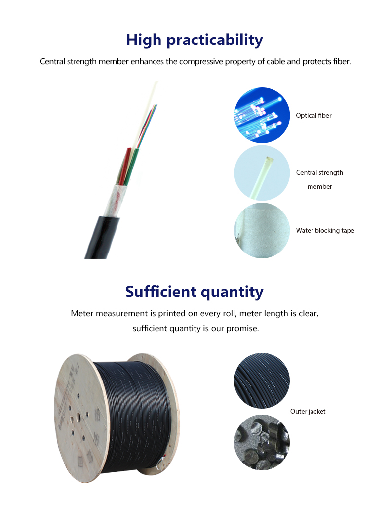 Outdoor loose tube non-metal fiber optic cable with corning g655 fiber drum  price