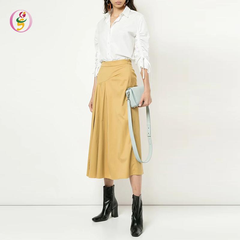 d0096e335f Elegante otoño las mujeres amarillo mezcla de algodón una línea de la  longitud de ...