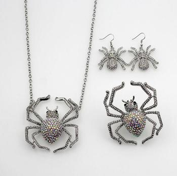 spider jewelry set wholesale spider necklace insect earrings rhinestone women