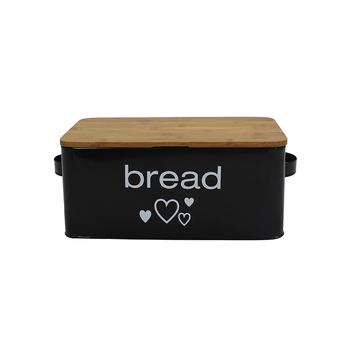 Kitchen accessories Bamboo Lid vintage metal storage bread box