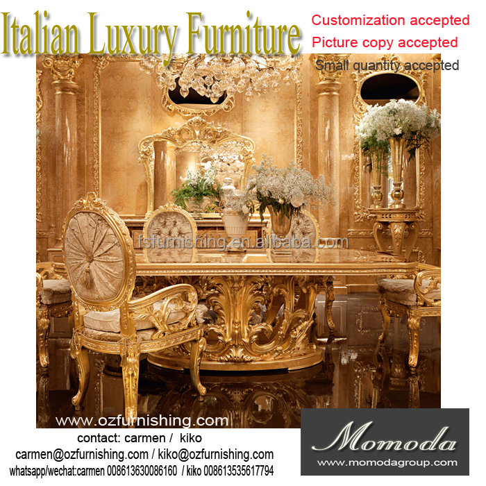 momoda New Arrival Luxury Golden Dining Table with beige Velvet Chairs, Royal Elegant Dining Room Set