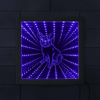 French Bulldog Lighted Photo Frame Color Changing Infinity Mirror Wall Art Frenchie Dog Picture Wood Frame Infinite Led Tunnel
