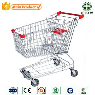Best cheap Asian 4 wheel metal supermarket retail hand shopping trolley