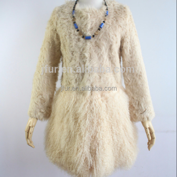 804a627740047 Winter Ladies Fur Coat Cream Mongolian Lamb Fur With Sheep Fur Long Coat