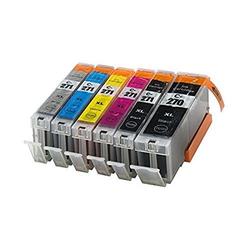 Sherman Ink Cartridges Compatible 6 Pack 270 271 CLI271 PGI270 Premium Long Lasting Ink Cartridge for Printers PIXMA MG7720 MG6820 MG6821 MG6822 MG5722, MG5721, MG5720, TS8020, TS6020, TS9020 CLI PGI
