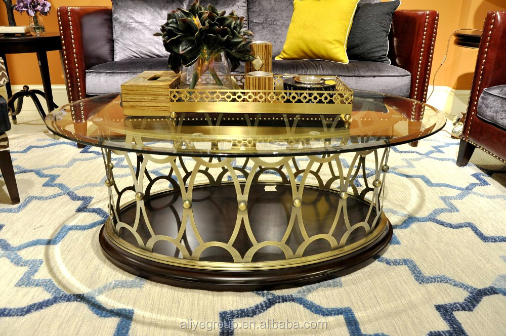 2017 Hot oval glass home centre metal coffee table MC05-024