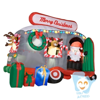 cheap christmas decoration inflatable airblown santa with camper