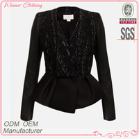 fall/winter deep v-neck women blazer jacket with peplum and jacquard