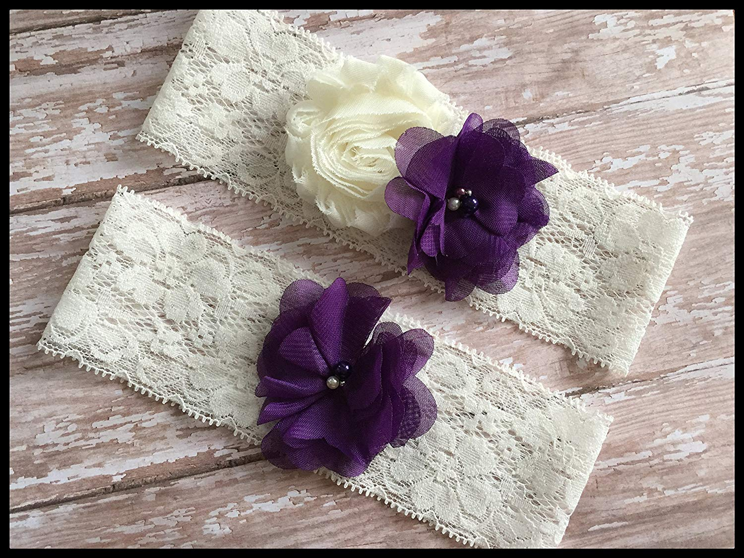 Elegant Chiffon Dark Purple Ivory Shabby Lace Pearl Flower Bridal Garter Vintage Wedding Keepsake Or Set