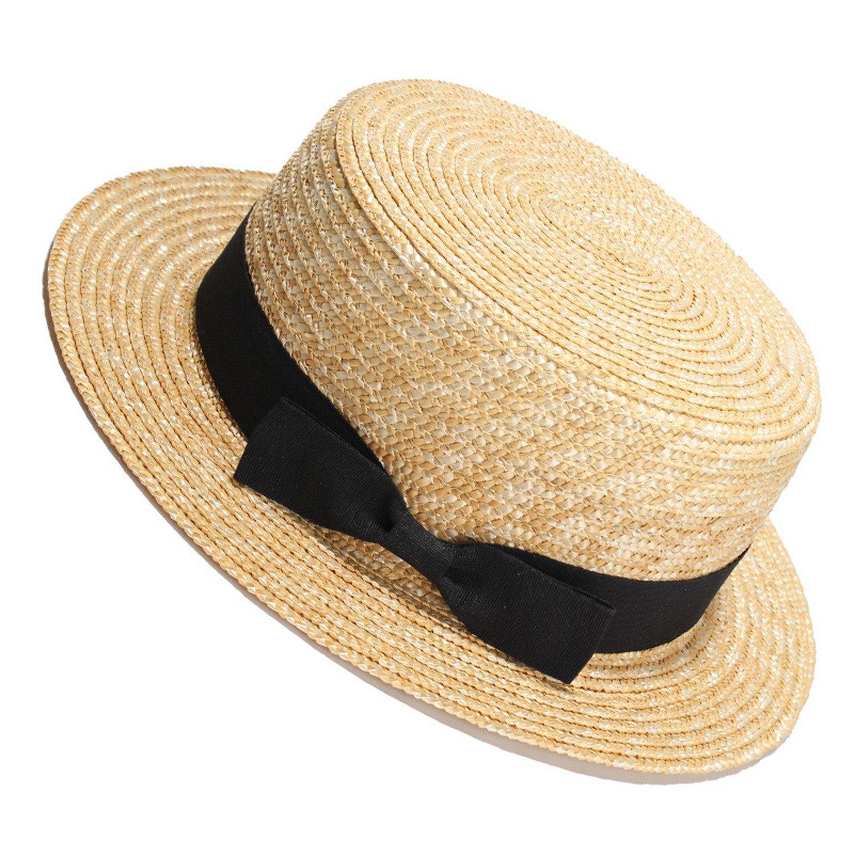 6b50b97c7a000 Get Quotations · Sllxgli ladies summer straw straw hat flat top hat travel sun  hat sun hat