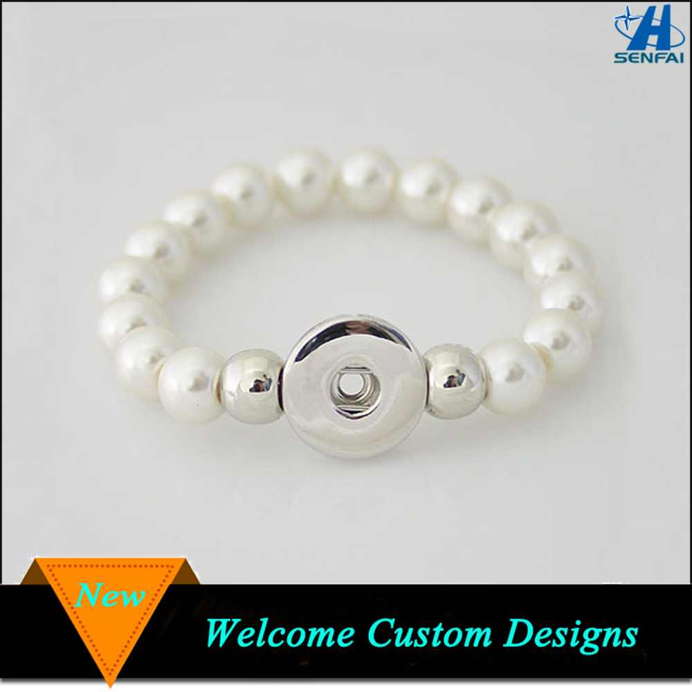 Fashion Ivory Pearl Beads Interchangeable Snap Button Bracelet