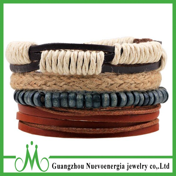 Multilayer Bracelet Leather/Cotton/Linen/Clay Beads Braided Wrap Wrist Bracelet Men Women
