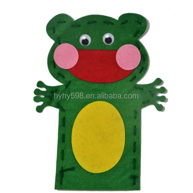 16053009 factory directly selling for Children handmade ready cutting felt hand puppet kit