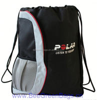 Promotional Polyester origami sport drawstring bags With Mesh Pocket