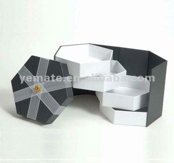 Grey Color Gift Box Octagon Paper Packaging Matchbox Origami