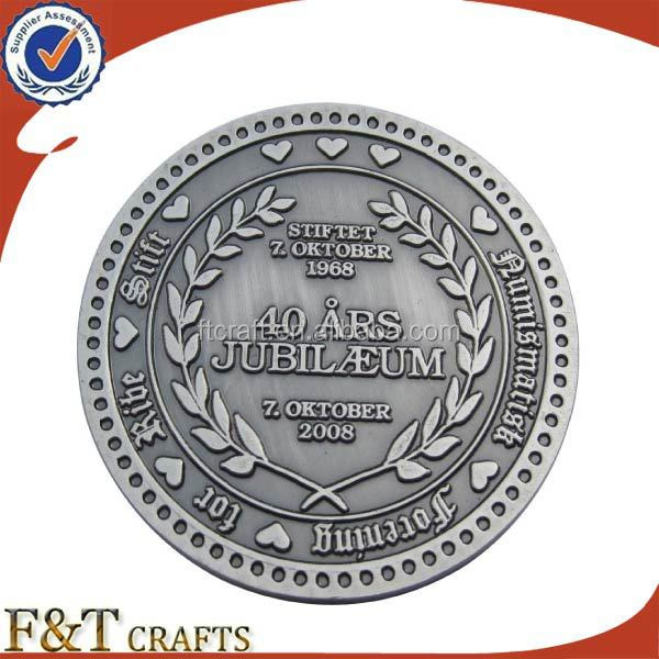 Premium gift antique pewter plated old silver coin replica
