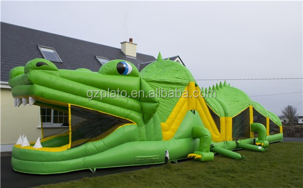 Inflatable Crocodile Obstacle Course / Giant Inflatable Dinosaur Game For  Adults And Kids