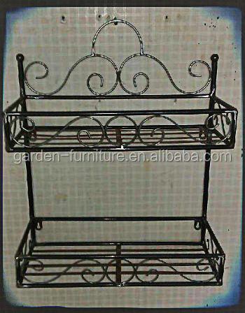 Antique Home Decor Double Levels Muti Purpose Organizer 2 Tier Wall Shelf Wrought Iron