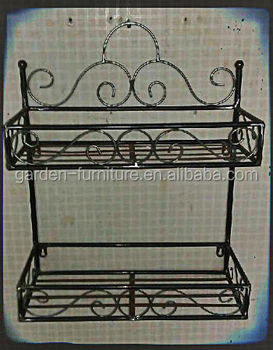 Antique Home Decor Double Levels Muti Purpose Organizer 2 Tier Wall Shelf Wrought Iron