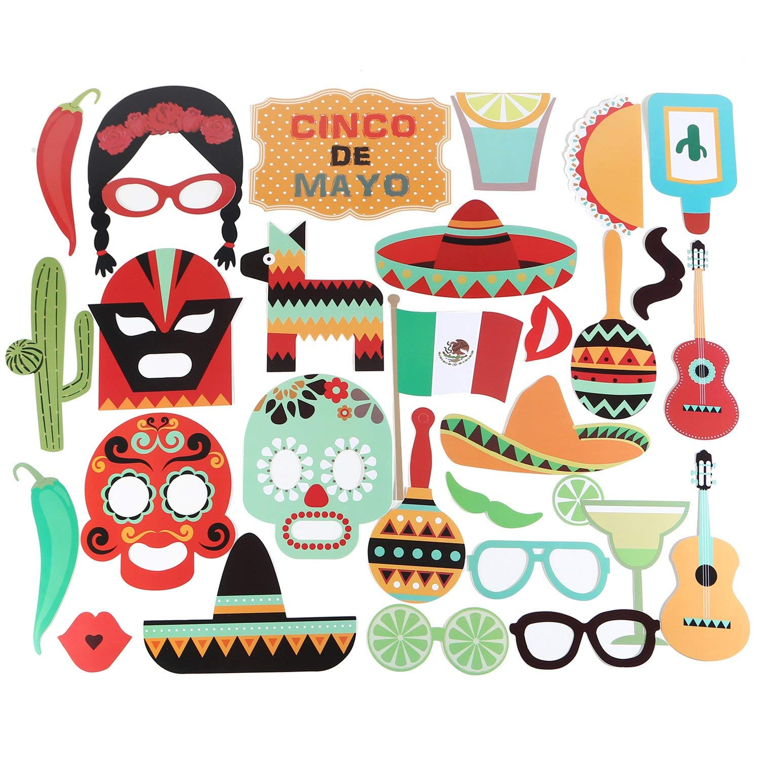 Humerry Mexican Photo Booth Props Kit with Stick DIY Posing Cinco De Mayo Fiesta Party Birthday Wedding Supplies Decorations 29 Count