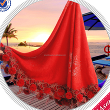 2016 Christmas Gift New Design Cotton Red Round Circle Towels Diamonds Decoration Tassels High Grade