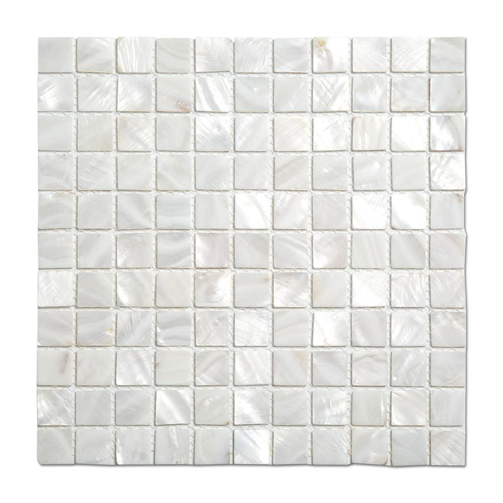 Hot Selling 25mm Square Natural White Mother Of Pearl Shell Mosaic Tile