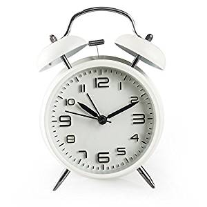 "CHKOSDA 4"" Twin Bell Alarm Clock with Backlight, Battery Operated, Loud Alarm Clock(White)"