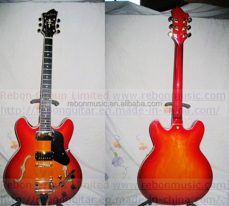 Weifang Rebon tremolo es339 Style Jazz Electric Guitar with nice wine red colour