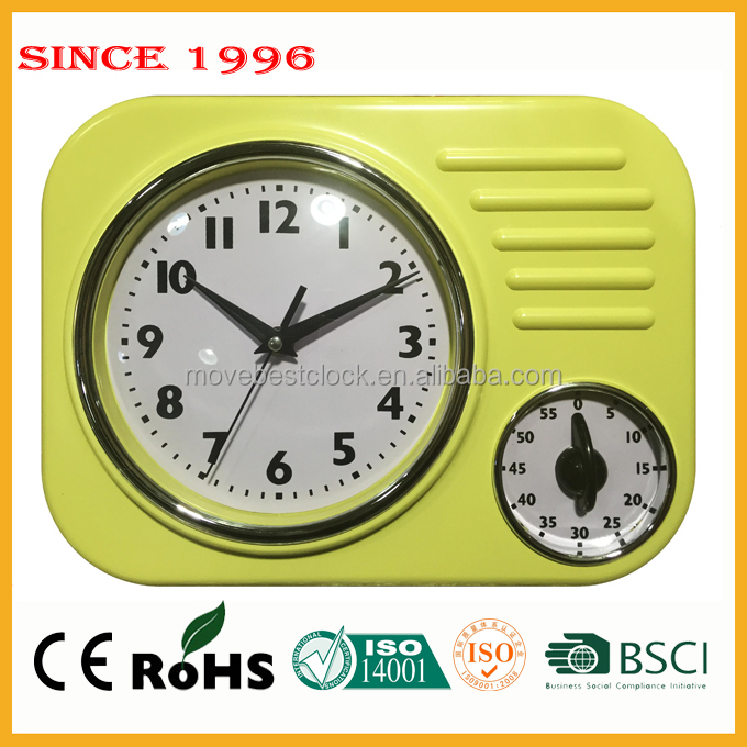 old school TV shape kitchen clock timer with plastic material for modern decoration 9178 yellow
