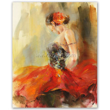 Handmade flamenco spanish woman heat dancing dancer oil painting on canvas