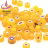 Yellow murano glass mixed millefiori slice chips beads with different shape