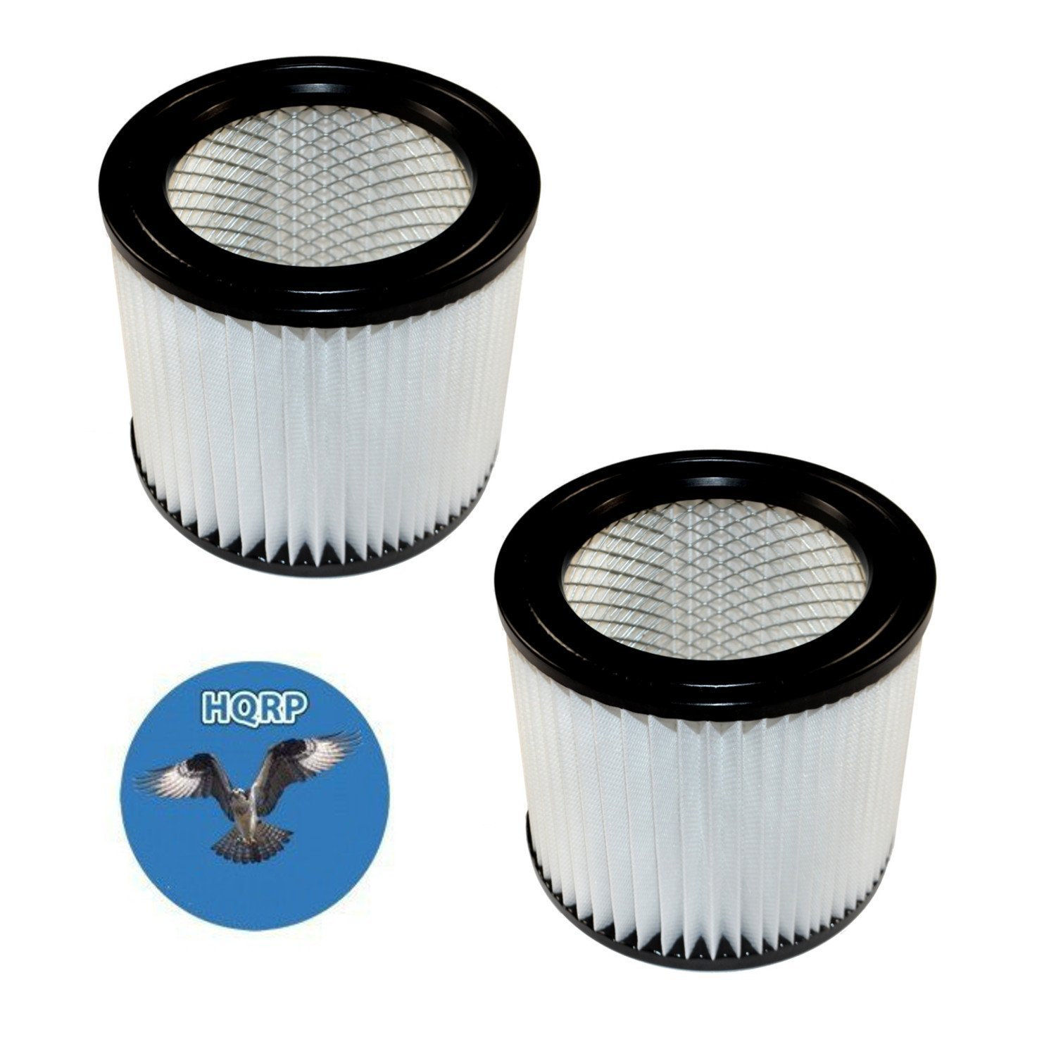 HQRP 2-pack Small Cartridge Filter for Shop-vac 5 gallon HangUp & 1-4 gallon Wet/Dry Vacuums, 90398 Type AA Replacement + HQRP Coaster