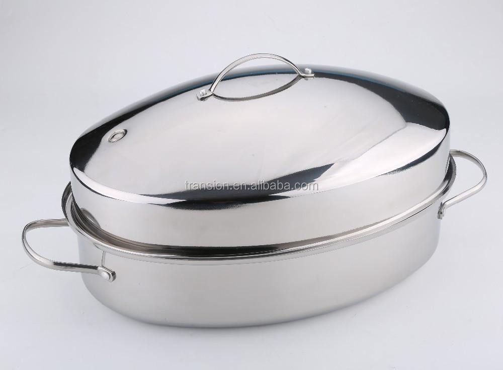 Stainless Steel Top Roast 18 Inch Oval Roaster Pan Turkey