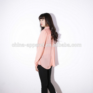 100% polyester chiffon Girls tops