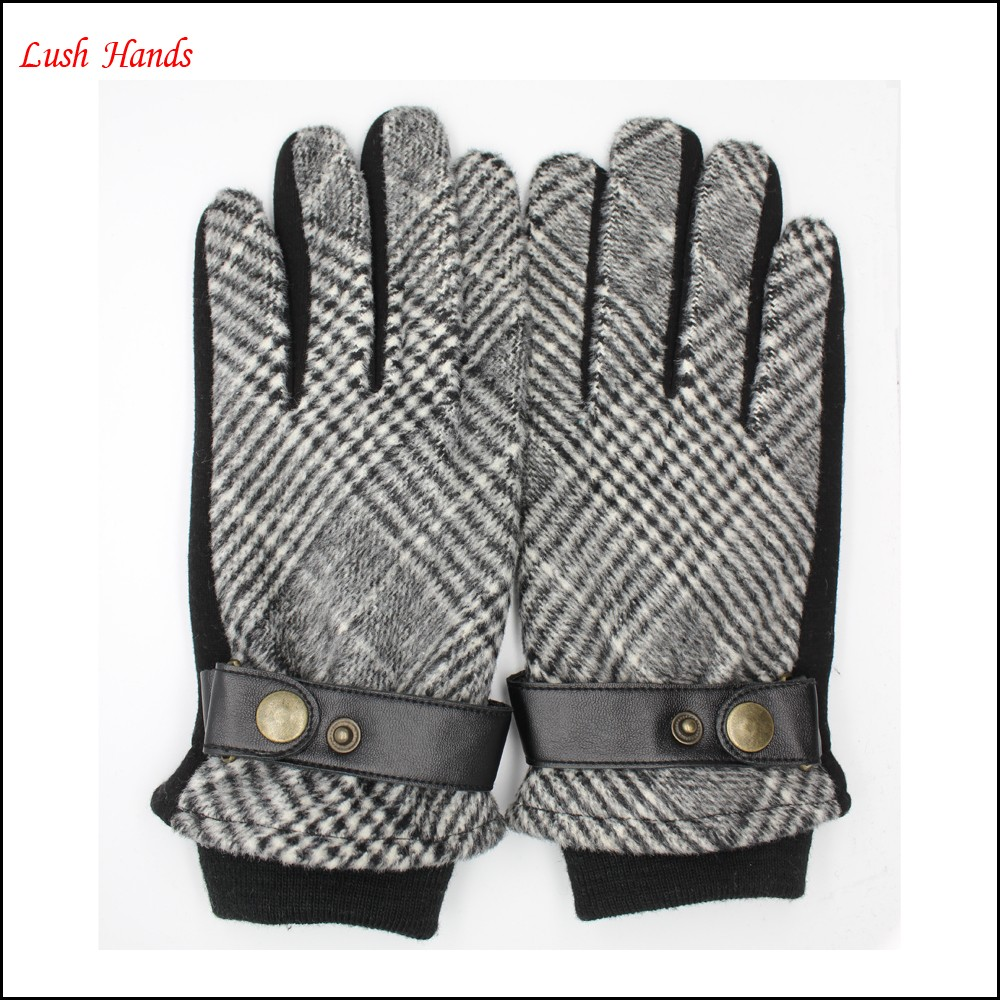 New style men's gloves made by black and white fabric and spandex velvet gloves