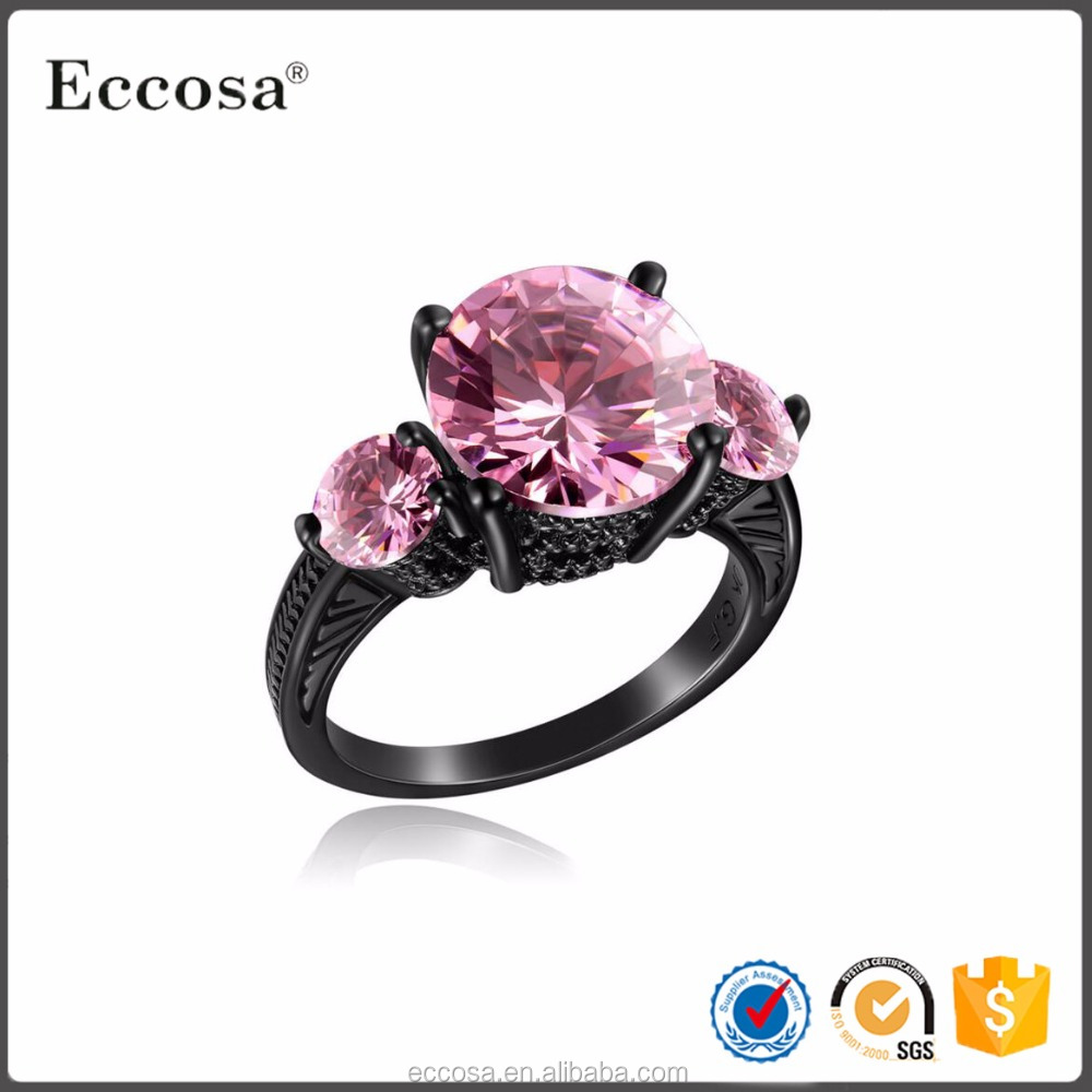 Three zircon Women Jewelry Black Gold Plated ring Simple CZ Ring