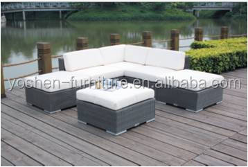 L shape rattan wicker outdoor furniture modular sofa commercial furniture