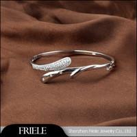 Fashion 925 sterling silver charm branches shape bangle bracelets jewelry wholesale