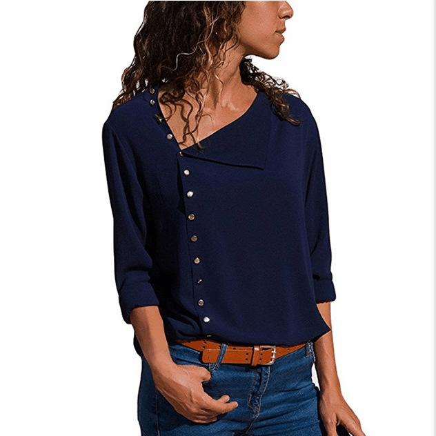 43d857c87ba Осень Новый Тип Косой воротник для женщин  большие размеры топ с длинными  рукавами Блузка Плюс