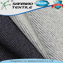 Wholesale indigo knitted denim terry style fabrics used for sportswear