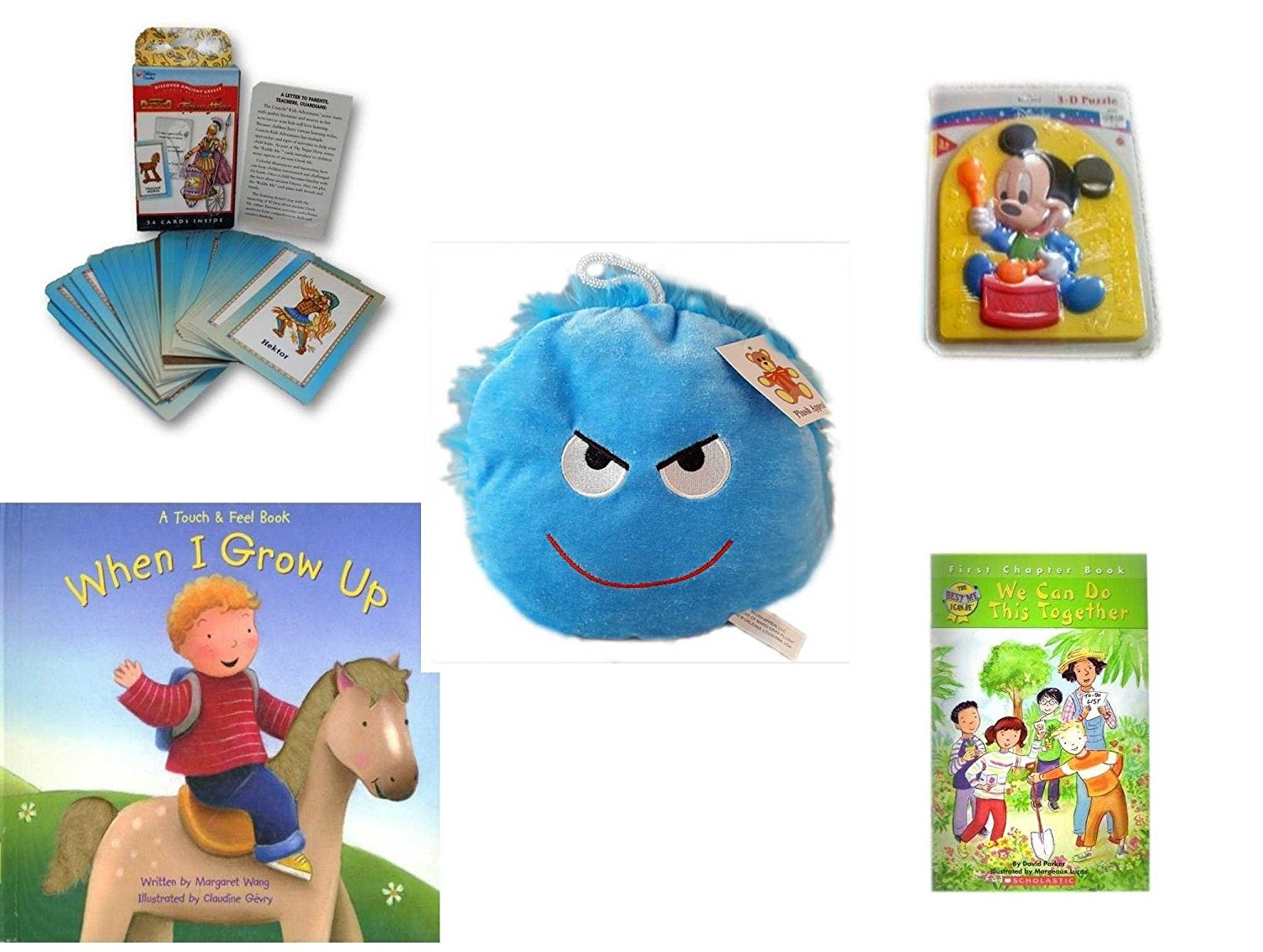"Children's Gift Bundle - Ages 3-5 [5 Piece] - Discover Ancient Greece Riddle Me Playing Card Game - Preschool Disney Baby Mickey 3D Puzzle Toy - Plush Appeal Bright Blue Mischievous Face Plush 7"" -"