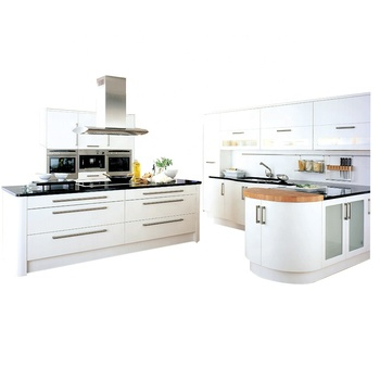 Furniture Flat Pack Kitchen Cabinet Set White Pvc Acrylic Lacquer From