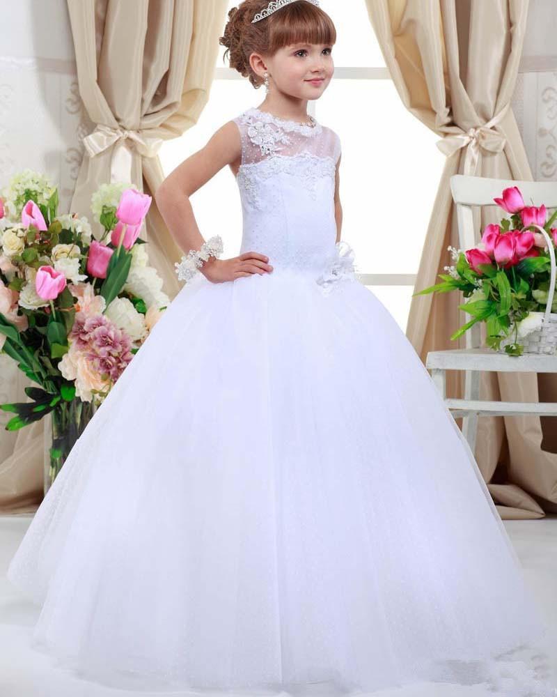 Flower Girl Dresses For Garden Weddings: 2016 First Communion Dresses For Girls A Line Tulle Flower