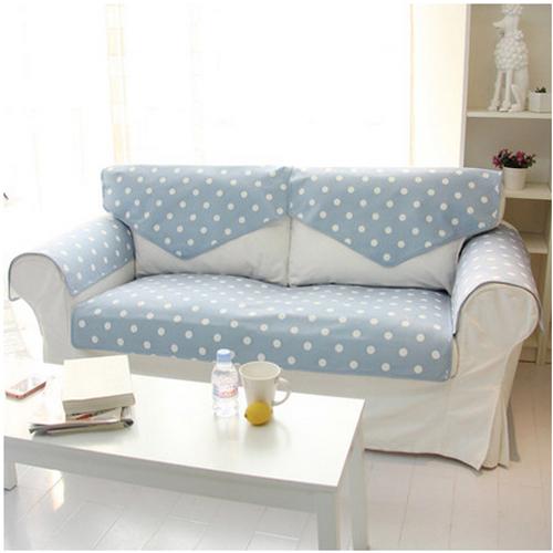 Korean Pastroal Reversible Blue & White Dot Cloth Sofa